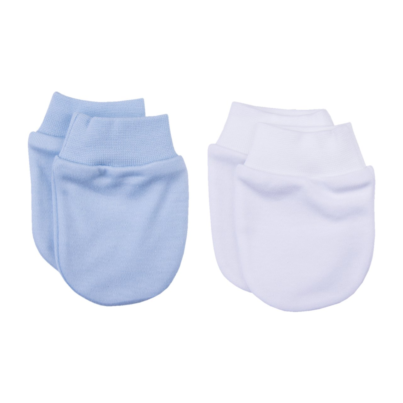 Guanti antigraffio in cotone organico per neonati bianco/azzurro – KITIKATE