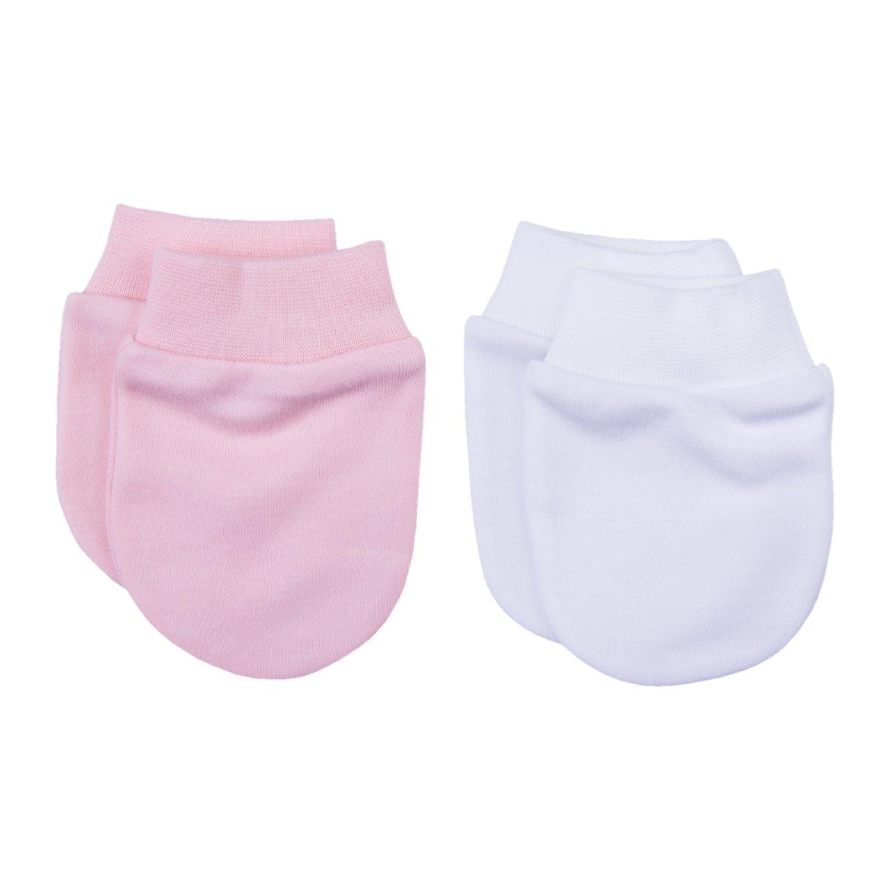 Guanti antigraffio in cotone organico per neonati neonati bianco/rosa – KITIKATE