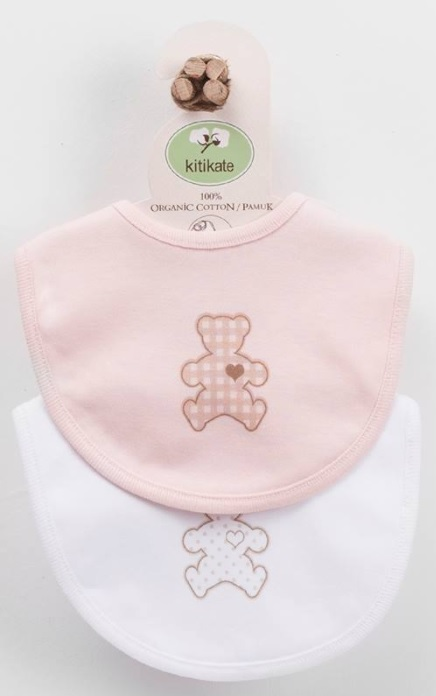 Bavaglini in cotone organico Biologico bianco/rosa – KITIKATE